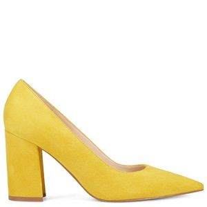 NINE WEST Yellow Suede Pointed Pumps